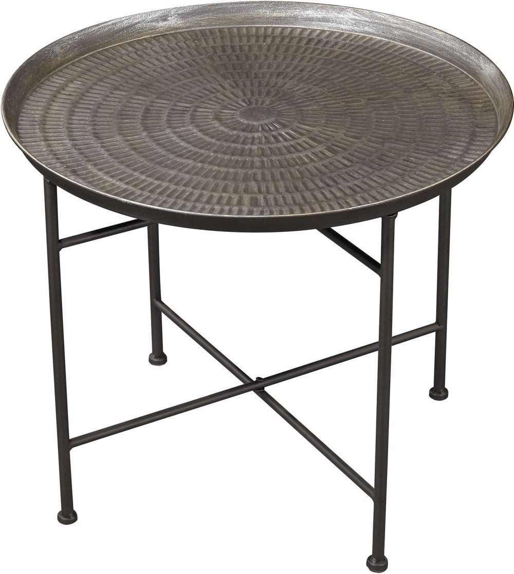 Embossed Pewter Accent Table