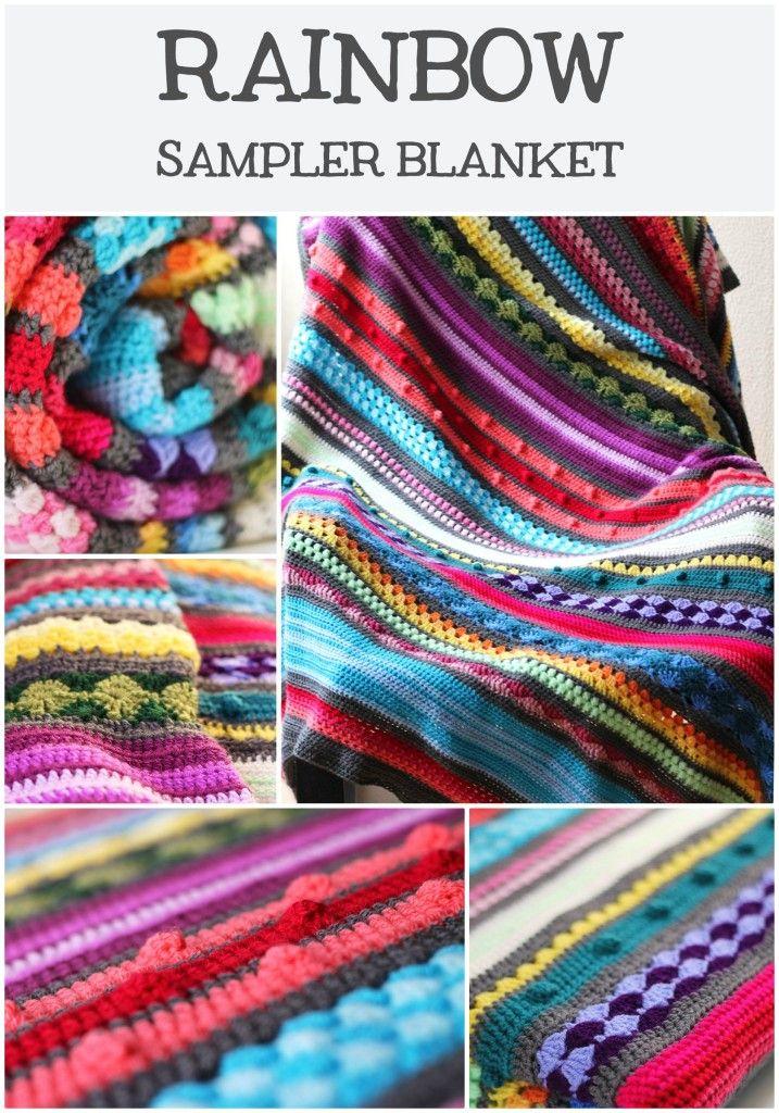 Free crochet pattern: Colourful rainbow sampler blanket | Manta ...