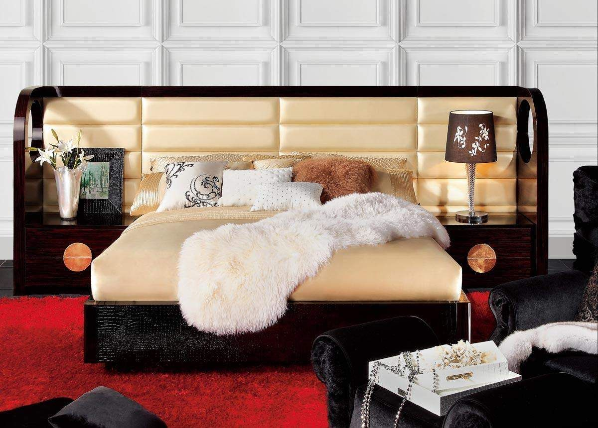 Lacquered Graceful Leather Platform And Headboard Bed Colorado Springs