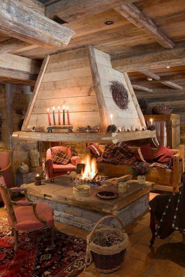 Indoor FIRE pit | Homesteading | Pinterest | House, Cabin and Living ...