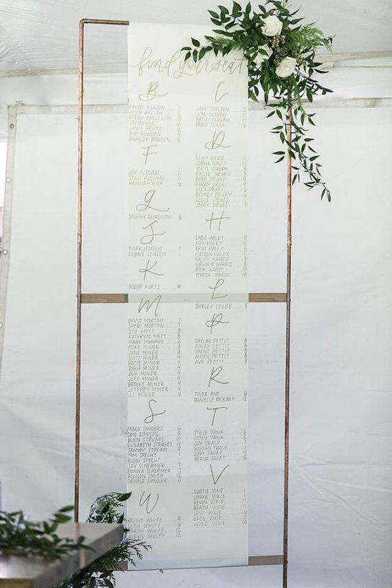 Oversized Scroll Seating Chart Handlettered Seating Chart