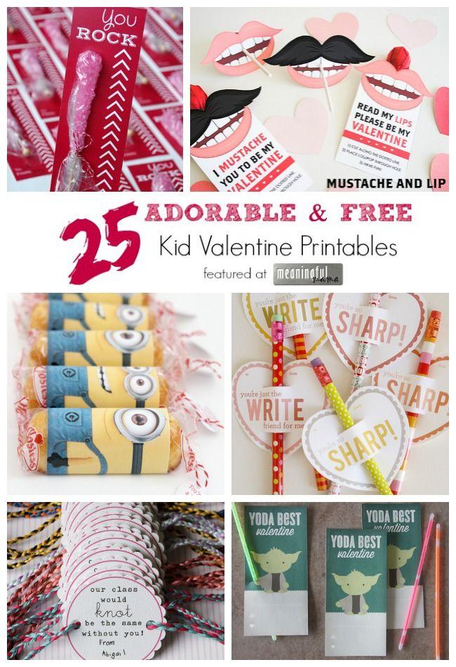 25 Adorable Free Kid Valentine Printables Valentines For