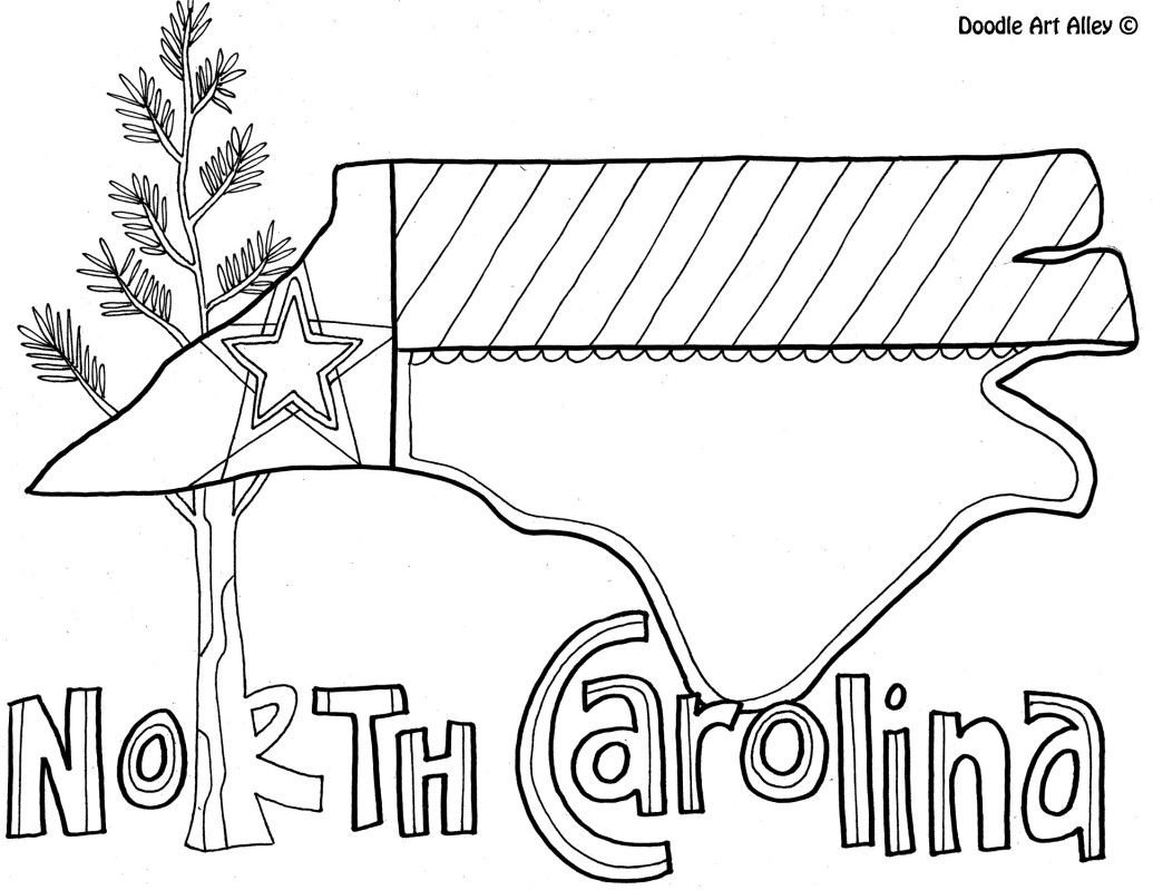 North Carolina Coloring Page By Doodle Art Alley With