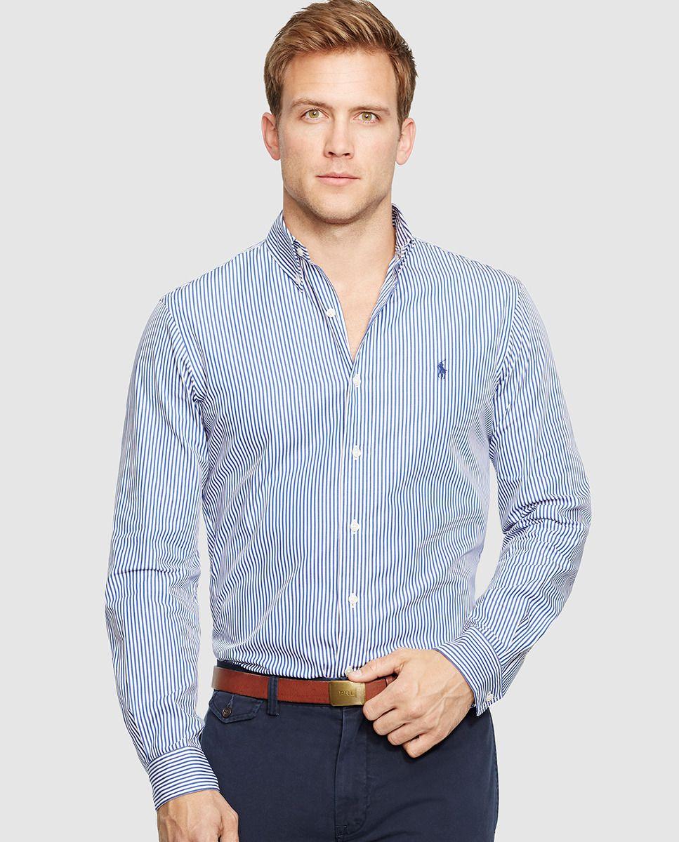 Camisa de hombre de rayas slim azul. Polo Ralph LaurenColor ...