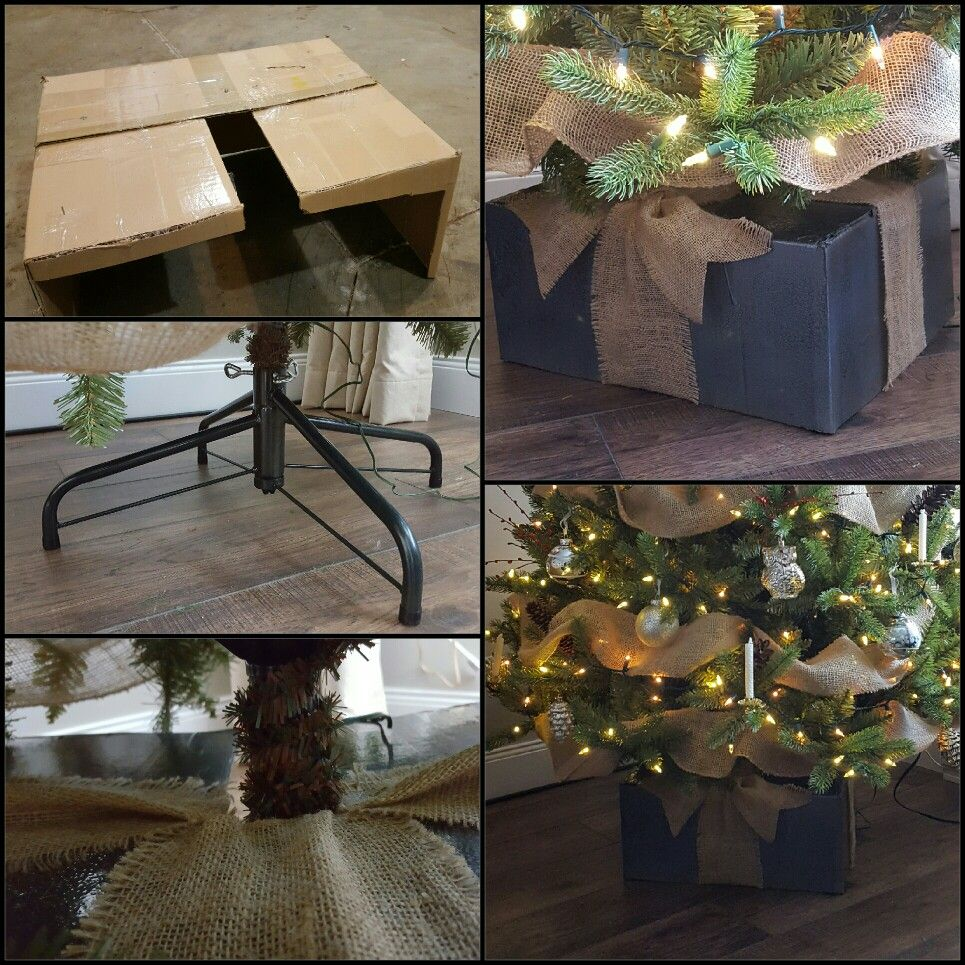 Diy Tree Stand Cover From A Cardboard Box This Was So Easy To Do Diy Christmas Tree Christmas Tree Stand Cover Christmas Tree Box