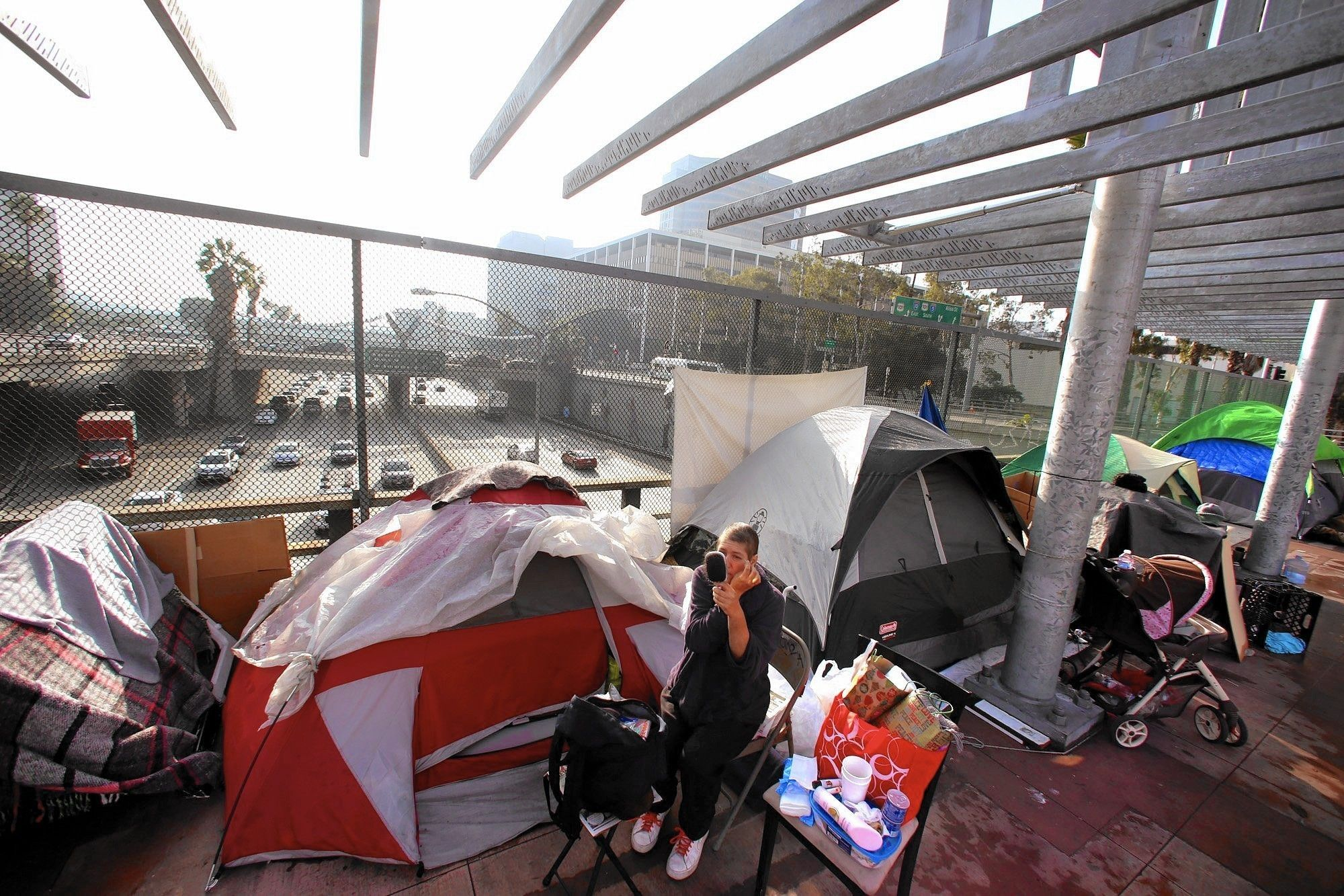 What Those Homeless Camps Along L A S Freeways Mean For A Public Space Once Above It All Public Space Homeless Housing Homeless