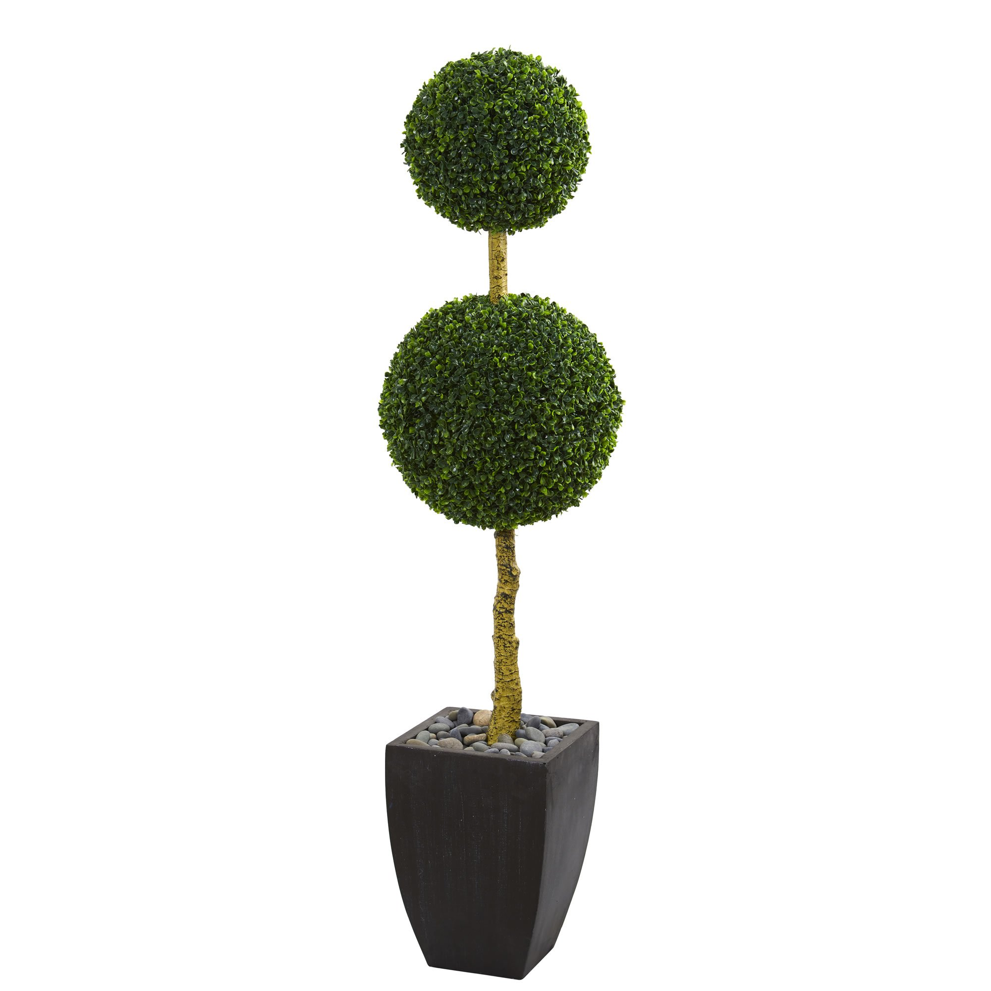 U double ball boxwood topiary artificial tree in black wash planter