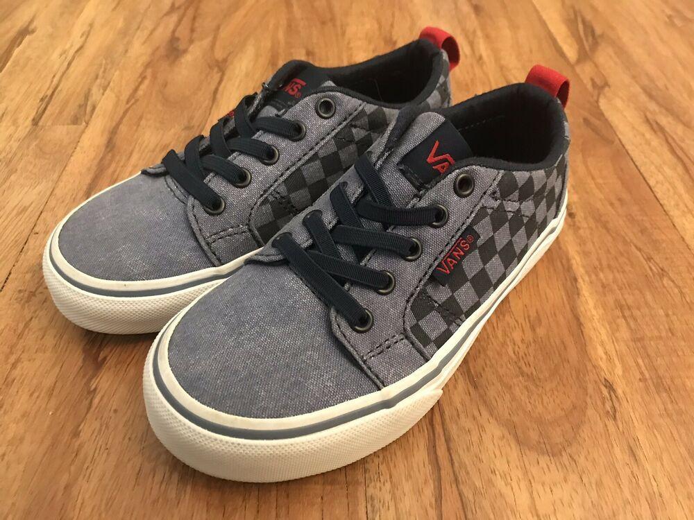 Vans Boys Toddler Blue Skate Shoes Size 10.5 Slip On Elastic