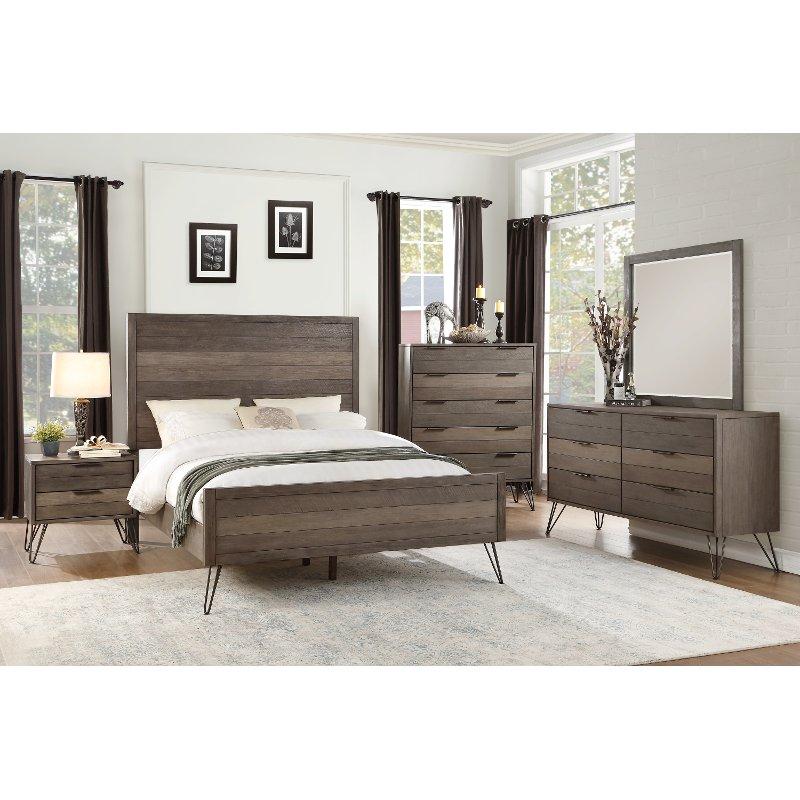 Modern Industrial Gray 4 Piece California King Bedroom Set Urbanite King Bedroom Sets Modern Bedroom Set California King Bedroom Sets