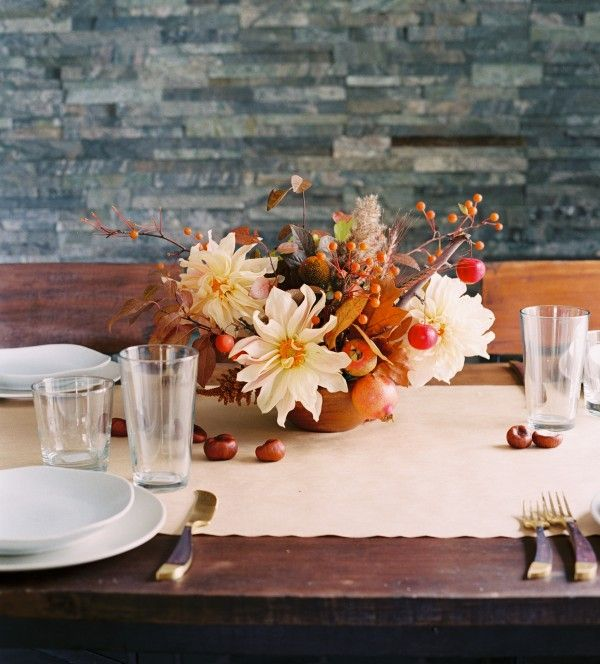 Inexpensive Wedding Ideas For Fall: Casual Fall Wedding Floral Centerpiece
