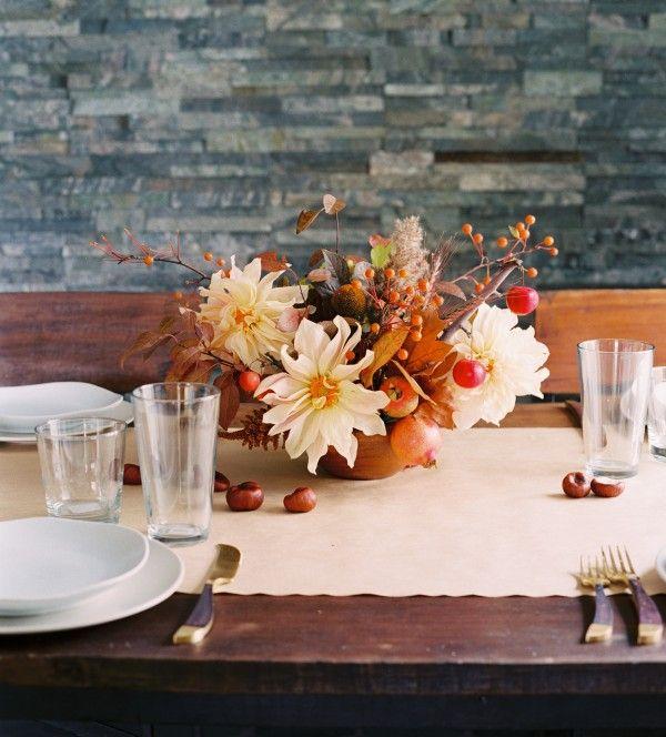 Casual Fall Wedding Floral Centerpiece