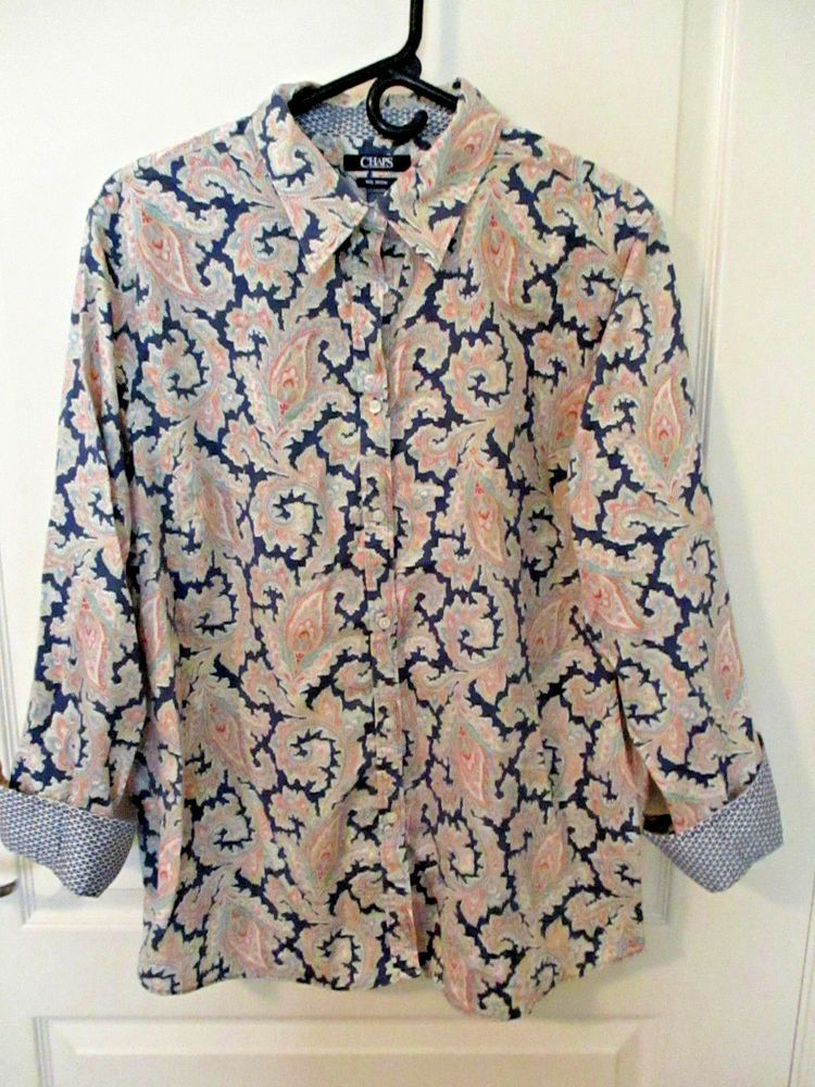 a88a1c16 Chaps size 2X no iron paisley print blouse 3/4 sleeves multi colors button  front