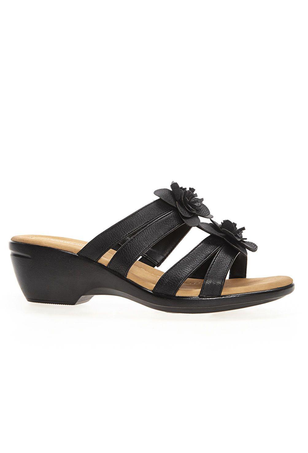 154727370fb3 Fiona Double Flower Cloudwalkers® Comfort Wedge-Wide Width Sandals-Avenue