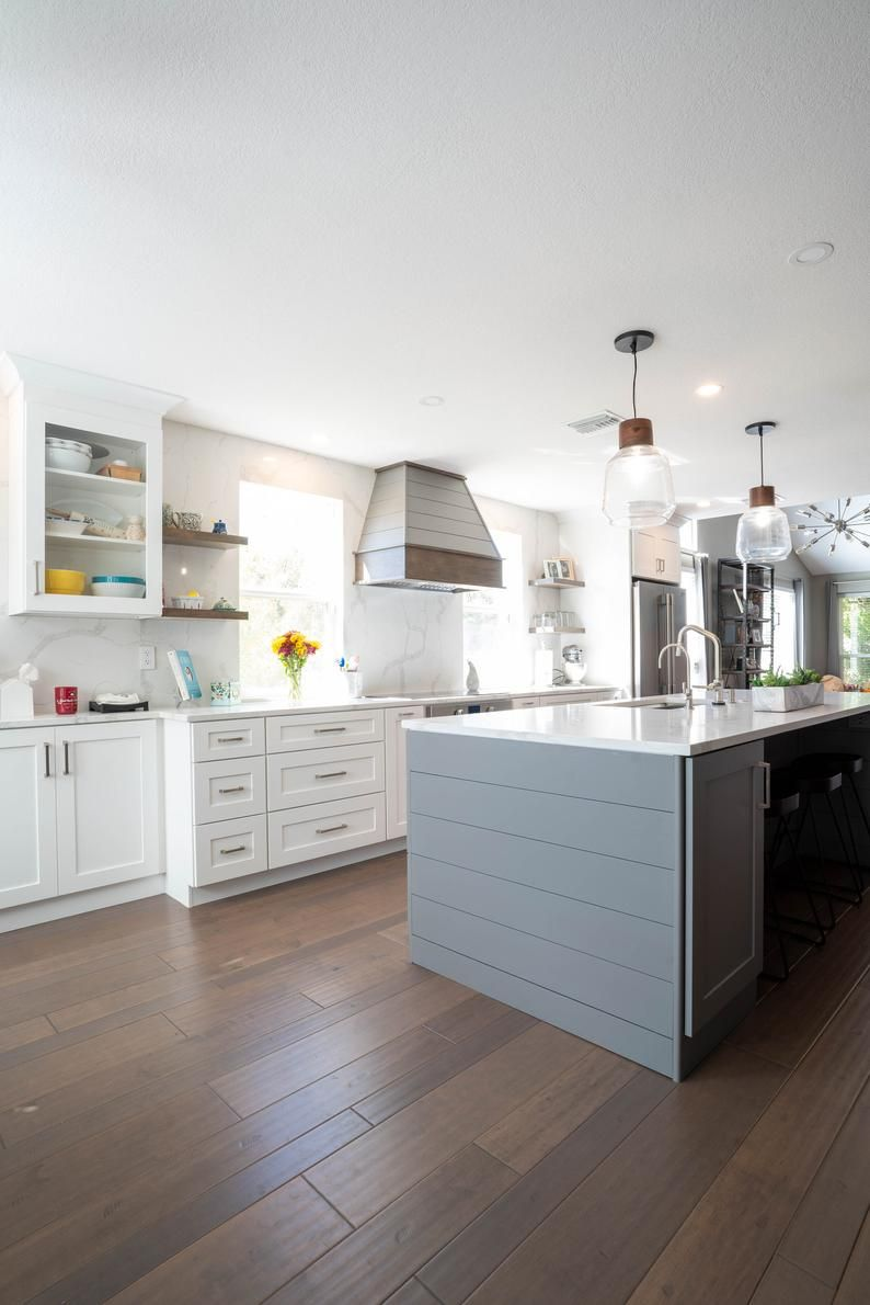 Range Hood with Shiplap upper Solid Hardwood Face and