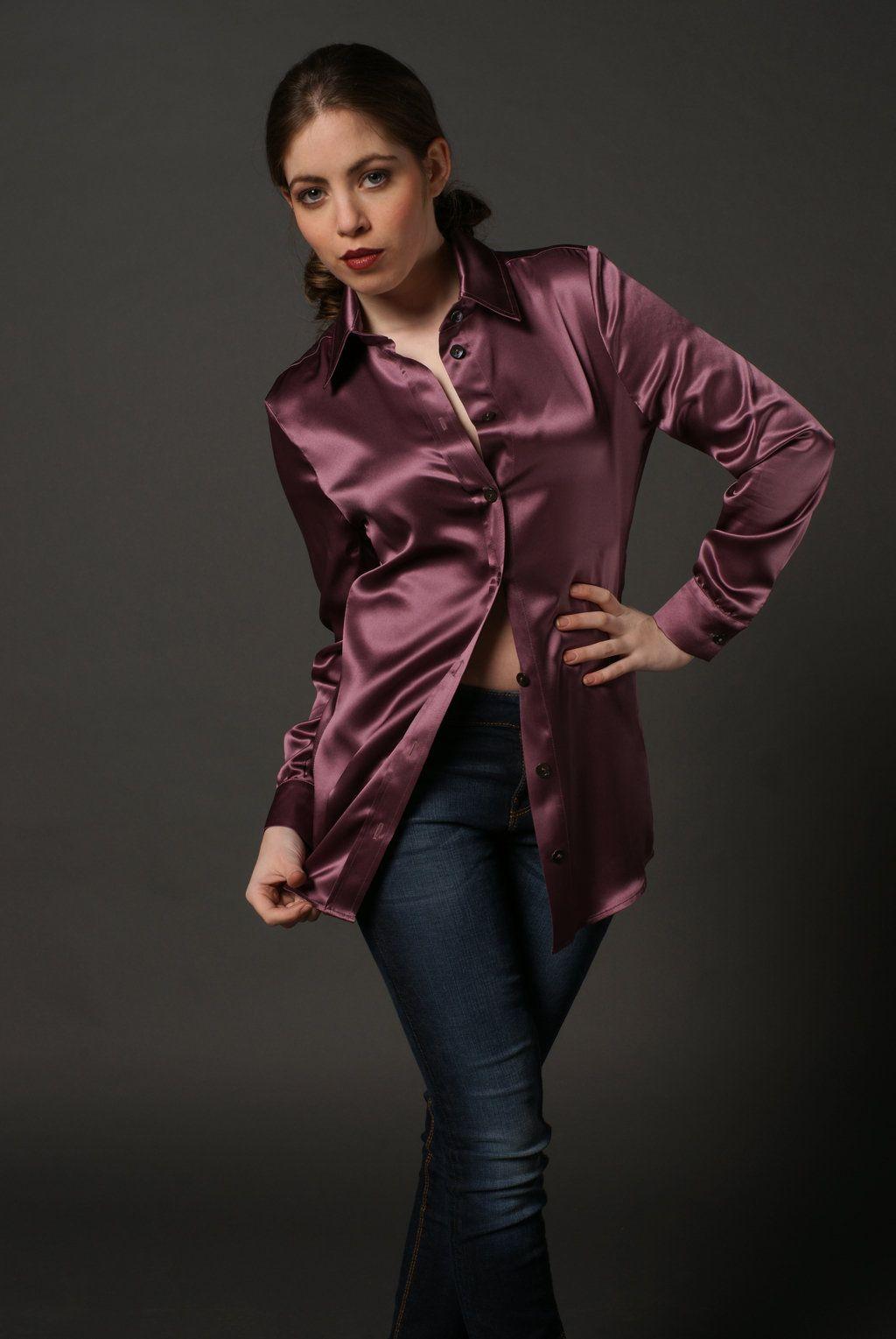 satin blouse | Womens Blouses | Pinterest