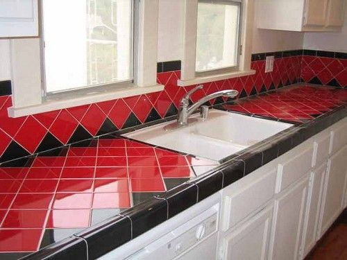 Red And Black Ceramic Tile Kitchen Countertops Ceramic Tile