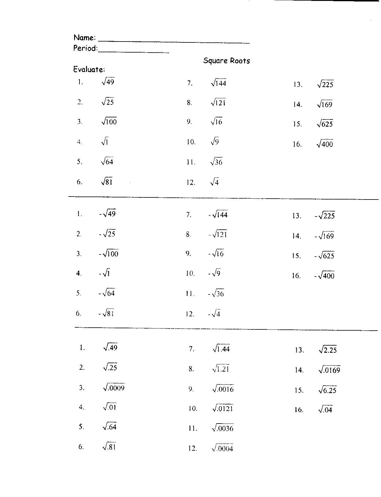 20 Worksheets Squares Of Numbers Math Worksheets