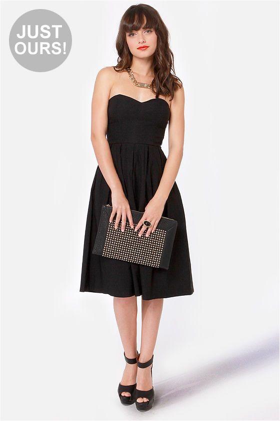 9ea513b556 Gorgeous Strapless Dress - Black Dress - Midi Dress -  48.00