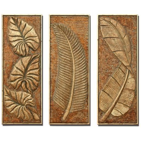 Superbe Tropical Ferns Set Of 3 Decorative Wall Art Panels   $730 SET OF 3, LAMPS