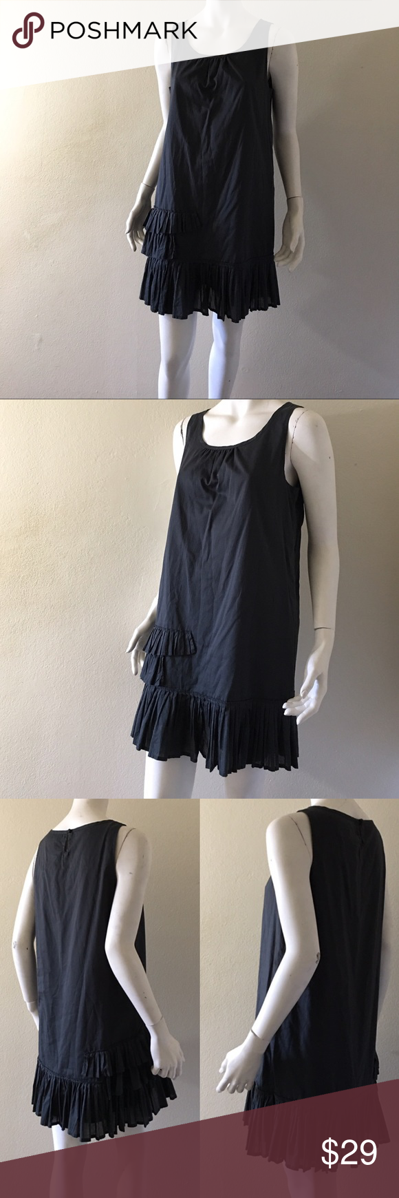 """J. Crew Ruffled Dark Olive Cotton Dress Pre-loved in good condition.                                       Straight silhouette. Falls above knee, 33 1/2"""" from high point of shoulder. PTP 19"""". Sleeveless. Ruffle detailing on one side and hem. Lined. 100% cotton. Machine washable. J. Crew Dresses Mini"""