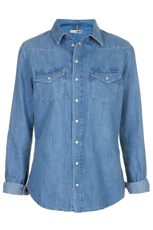 9694274e714 MOTO Fitted Denim Shirt - Denim - Clothing - Topshop