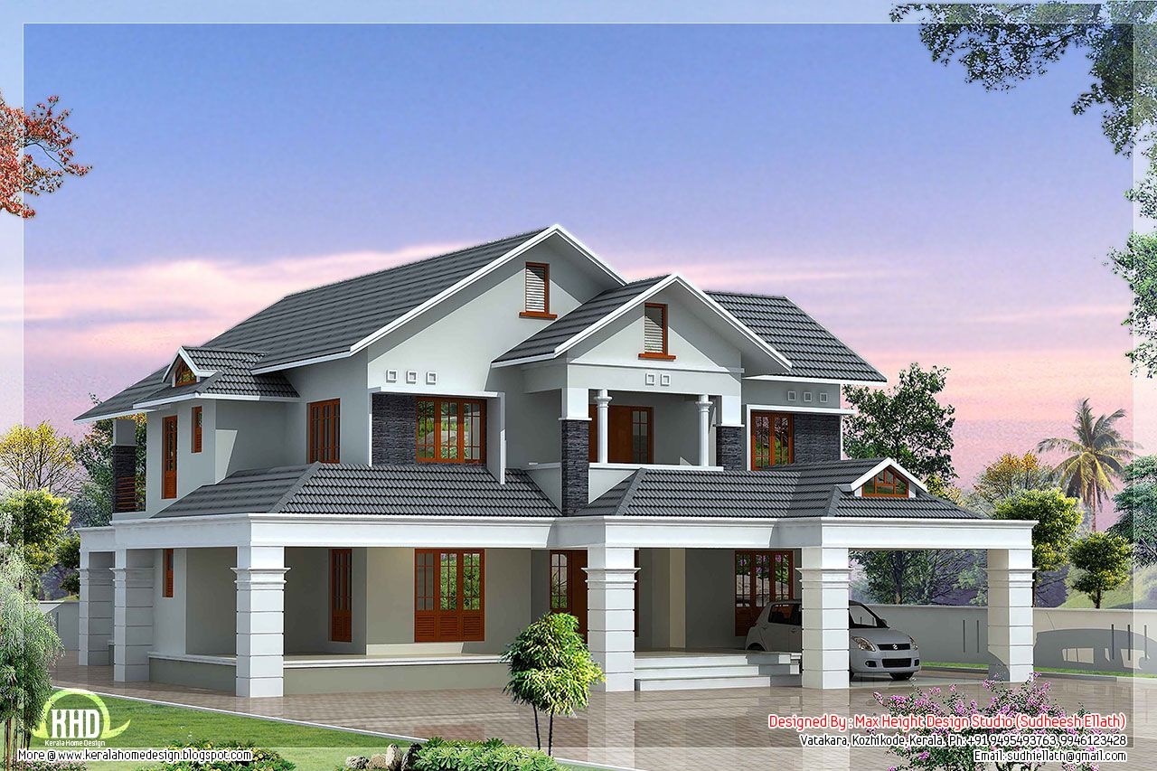 Luxury 5 Bedroom Villa Kerala House Design Luxury House Plans Bungalow Design