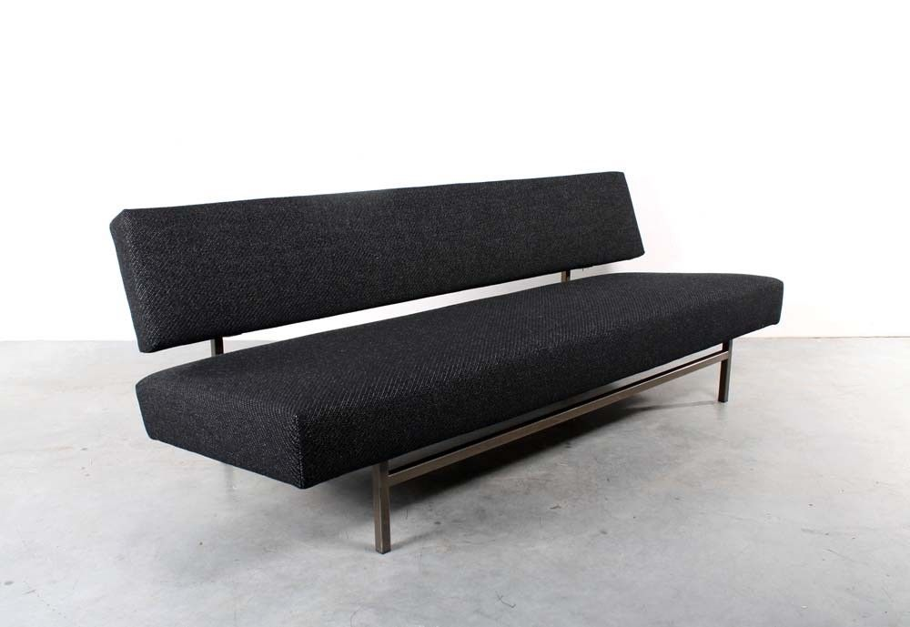 Vintage Mid Century Rob Parry For Gelderland Black Felt Upholstered
