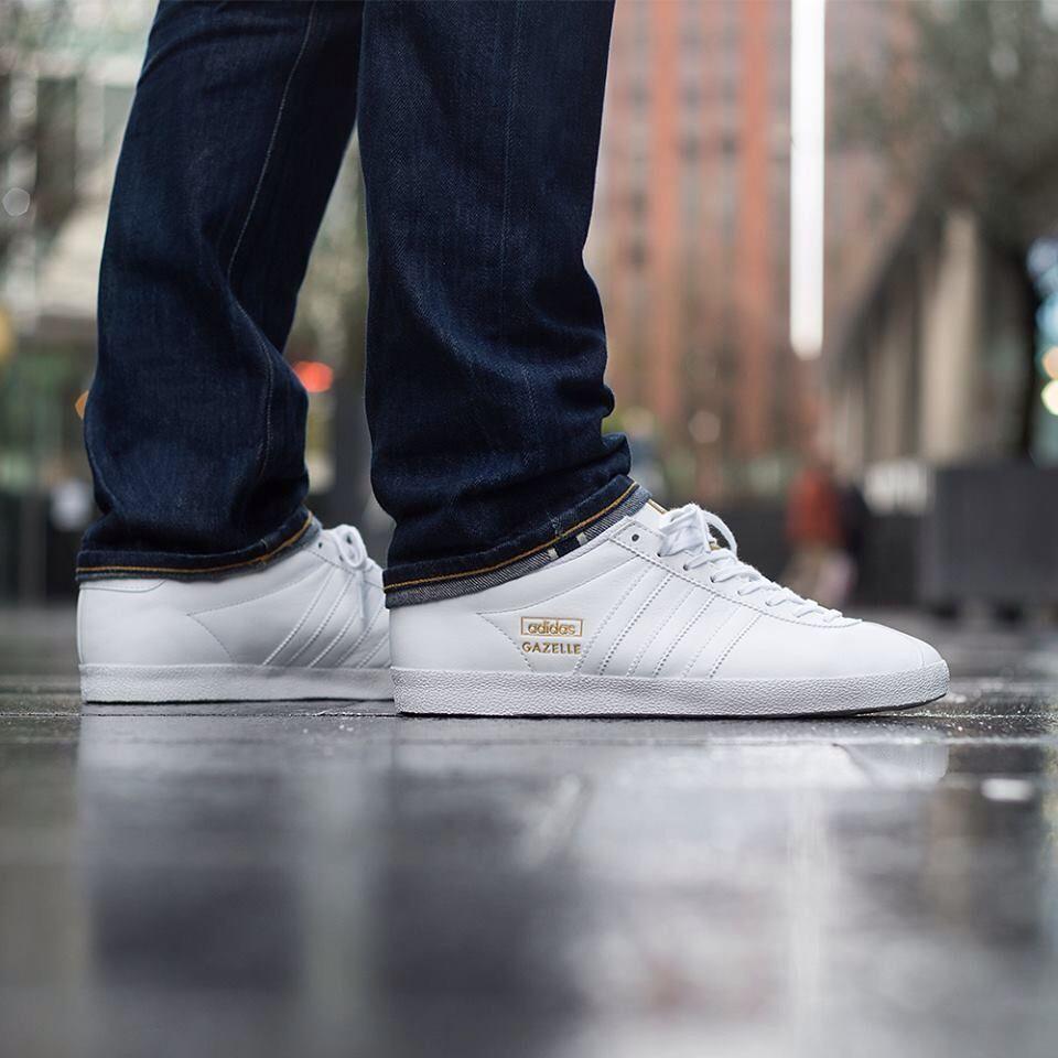 adidas gazelle mens white leather