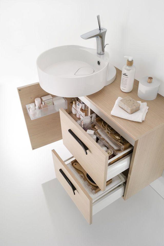 Meuble salle bain bois, design, Ikea, Lapeyre Chalet - salle de bain meuble noir