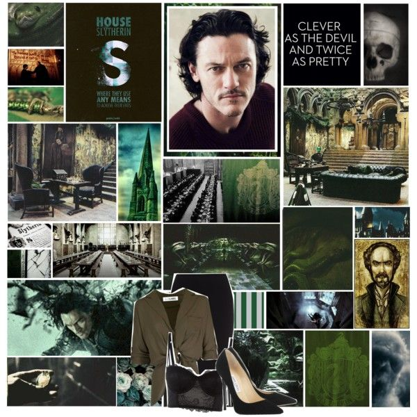 The Four Original Founders Of Hogwarts Slytherin By Smokeyxfuzz On Polyvore Featuring Roland Mouret And Jimmy Choo Slytherin Hogwarts Hogwarts Houses