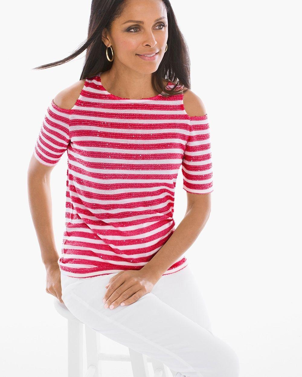 383de216ab776 Chico s Women s Sequin Striped Cold-Shoulder Top