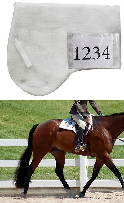 Saddle Pads 183377: English Hunter Horse Show Saddle Pad White Fleece With Number Pouch Aqha BUY IT NOW ONLY: $32.5