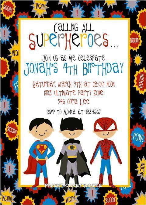 Ideas de invitaciones para fiesta infantil de Super Héroes ...