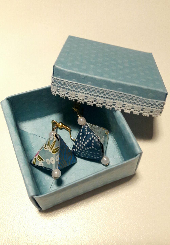 origami boucles d 39 oreilles berlingot et leur bo te harmonie de bleu et pastel craft. Black Bedroom Furniture Sets. Home Design Ideas