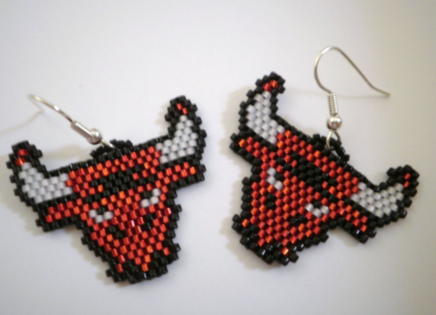 Bull Dangle Earrings Chicago Bulls Basketball Mascot By Jazminsjewels On Etsy