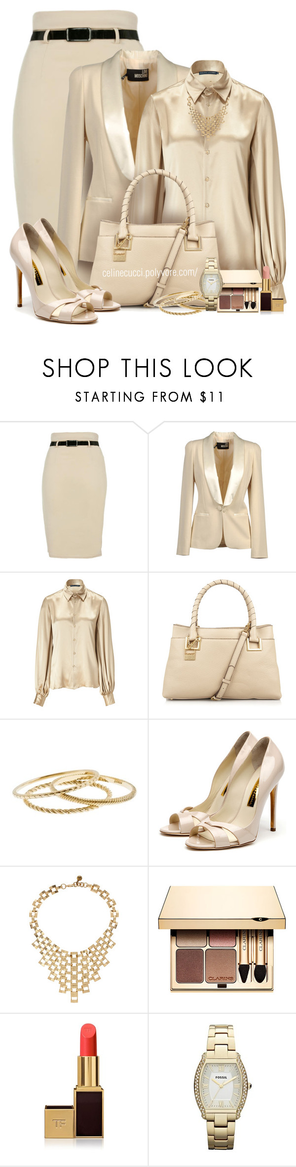 Monochromatic - Beige by celinecucci on Polyvore featuring Polo Ralph Lauren, Love Moschino, Rupert Sanderson, DKNY, FOSSIL, J.Crew, Lulu Frost, Clarins and Tom Ford