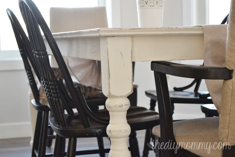 Genial A Shabby Chic Farmhouse Table With DIY Chalk Paint | The DIY Mommy