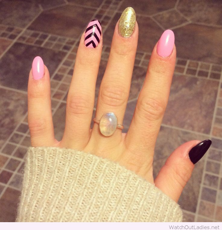 Almond Shaped Acrylic Nails On Pink Black And Gold