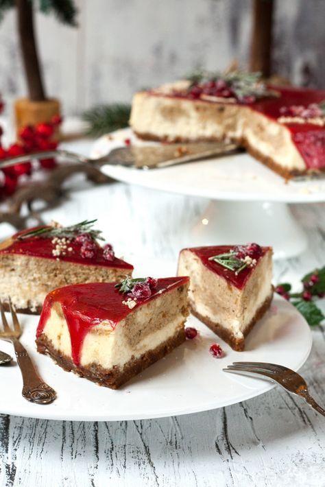 Christmas Cheesecake mit Marzipan, Spekulatius, Lebkuchen und Glühwein #spekulatiuskuchen