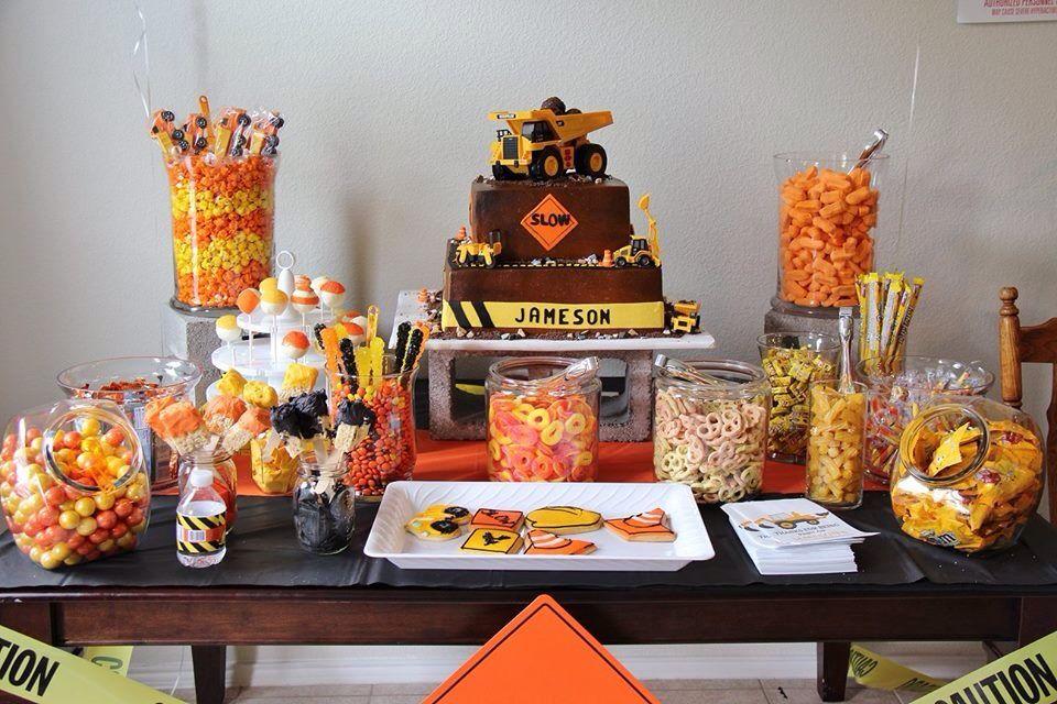 Construction Themed Dessert Candy Buffet Table Orange