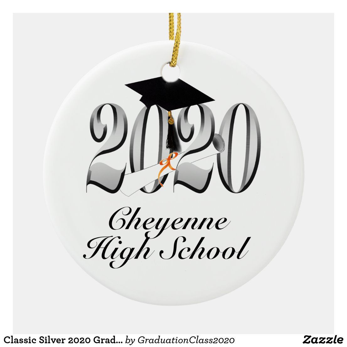 Classic Silver 2020 Grad Cap and Diploma Ceramic Ornament