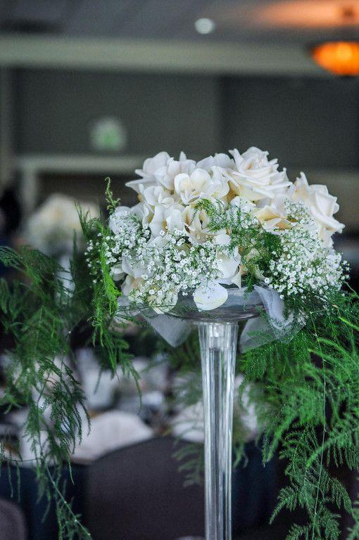 Eiffel Tower Vase Tall Wedding Centerpiece Roses And Hydrangea