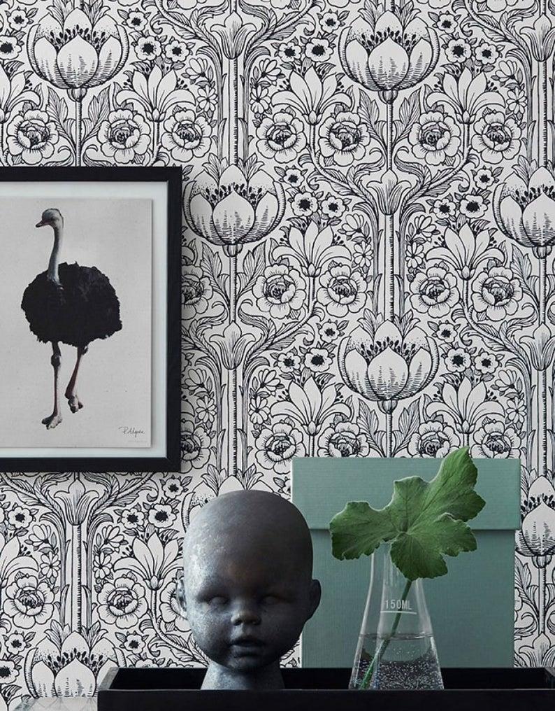 Black White Blossoms Vintage Wallpaper Retro 60s And 70s Etsy Flowery Wallpaper Vintage Wallpaper Floral Wallpaper