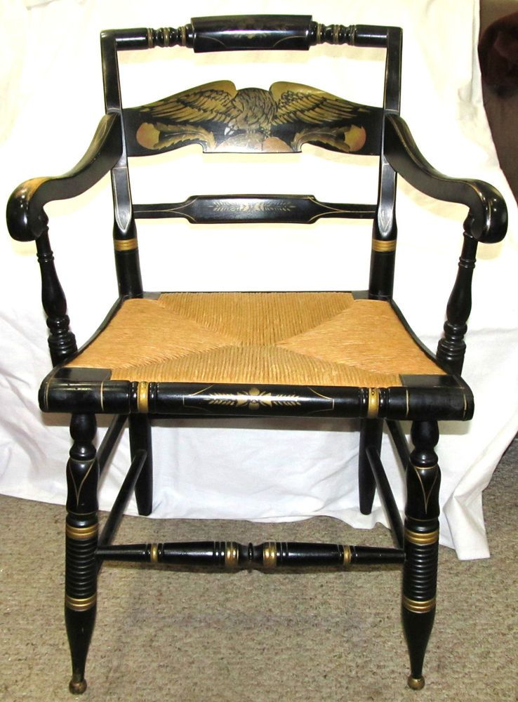 Superb Details About Eagle Ethan Allen Chair Hand Decorated Black Ocoug Best Dining Table And Chair Ideas Images Ocougorg