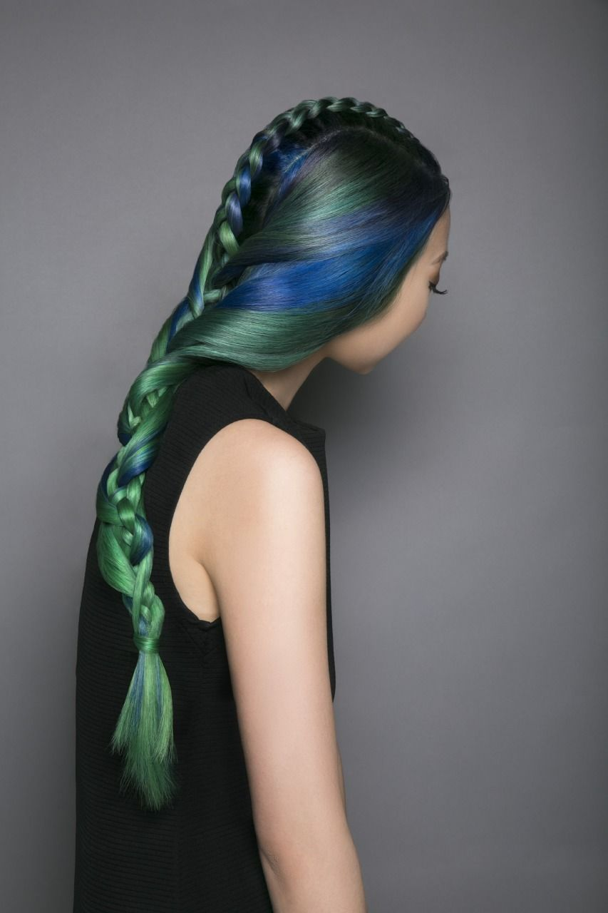 Pravana hidden treasure green blue hair long braid colorful hair