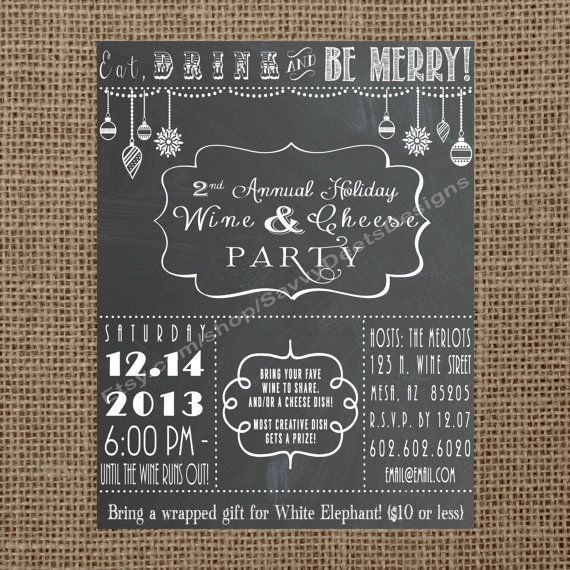 Chalkboard Holiday Wine Party Invitation Printable Cheese