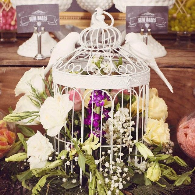 Flowers hanging out of bird cage