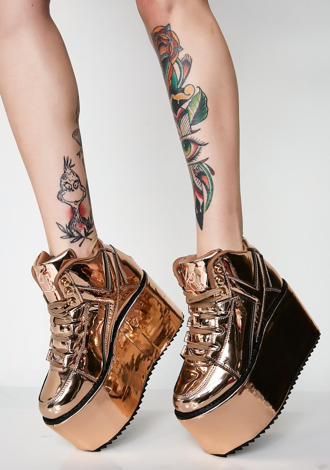 961b2ca148 Y.R.U. Fairest Of Them All Qozmo Platform Sneakers cuz you're the prettiest  princess. These metallic rose gold sneakers have thikk platform soles and  ...