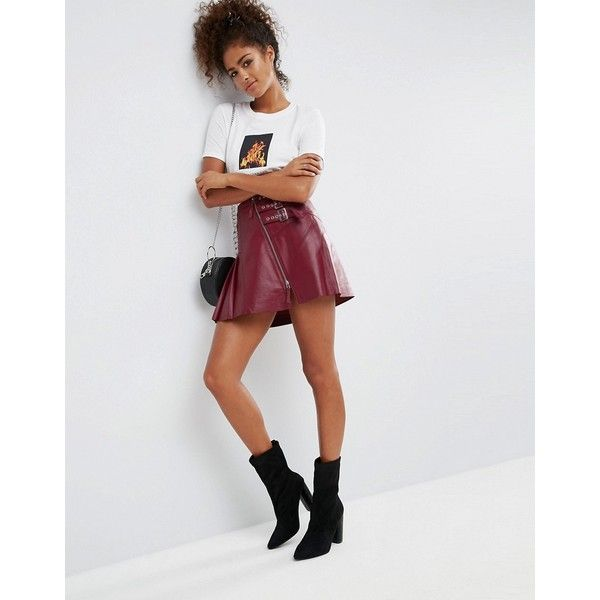 d5a0f5677a96 ASOS Leather Kilt Skirt with Buckle Detail ($150) ❤ liked on Polyvore  featuring skirts, red, knee length pleated skirt, leather skirts, high  waisted knee ...