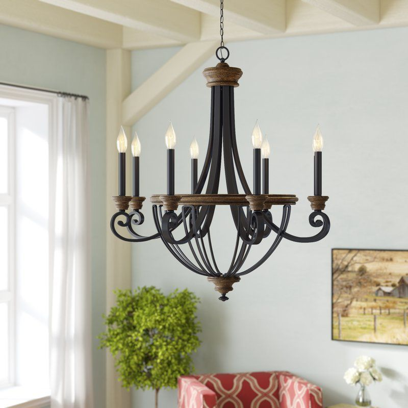 Laurel Foundry Modern Farmhouse Nanteuil 8 Light Empire Chandelier Reviews Wayfa Wood And Metal Chandelier Empire Chandelier Farmhouse Dining Room Lighting